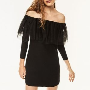 ZARA Black Off-The-Shoulder Tulle Neck Mini Dress